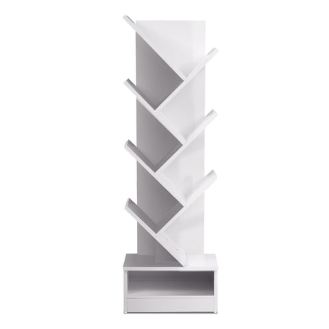 Display Shelf 7-Shelf Tree Bookshelf Book Storage Rack Bookcase White