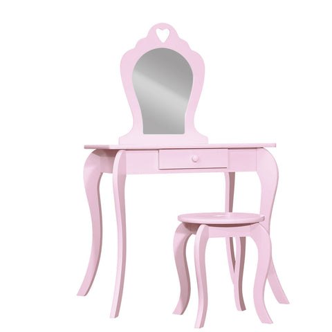 Vanity Dressing Table Stool Set Mirror Drawer Children - Pink