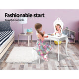 Kids Vanity Dressing Table Stool Set Mirror Drawer Children Makeup White