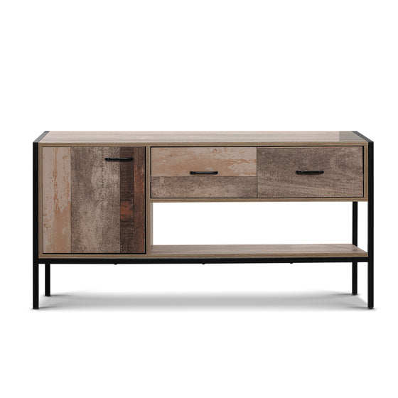 TV Stand Entertainment Unit Storage Cabinet Industrial Rustic Wooden 120cm