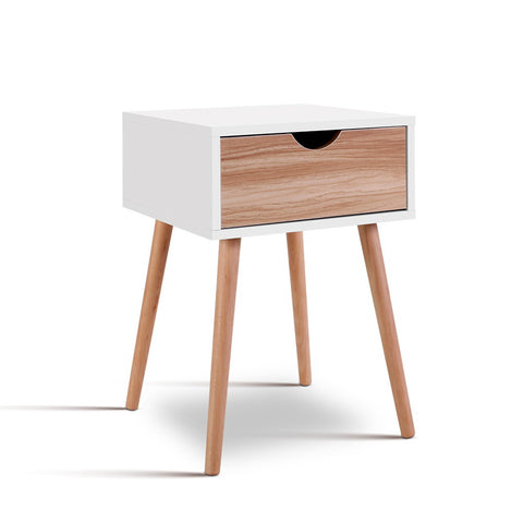 Bedside Tables Drawers Side Table Storage Wood Legs Bedroom White