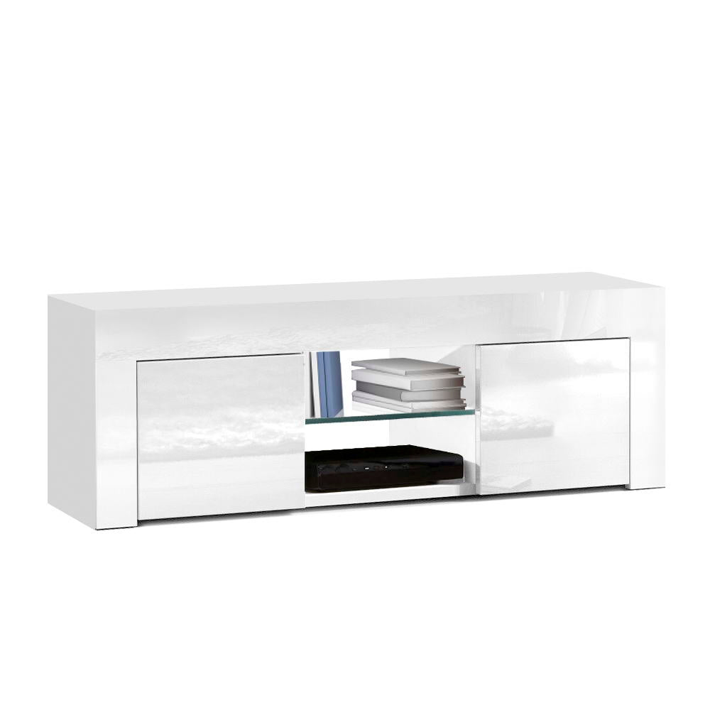 130cm High Gloss TV Unit Storage Cabinet Tempered Glass Shelf White