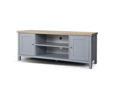 TV Cabinet Entertainment Unit Stand French Storage Shelf Wooden 130cm Grey