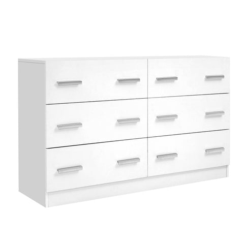 6 Chest of Drawers Cabinet Dresser Tallboy Lowboy Storage Bedroom White