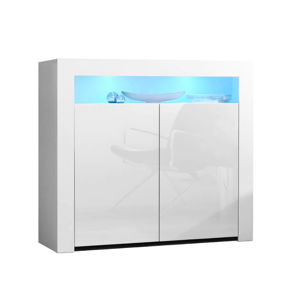 Buffet Sideboard Cabinet LED High Gloss Storage Cupboard 2 Doors White
