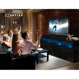 TV Cabinet Entertainment Unit Stand RGB LED Gloss Drawers 160cm Black