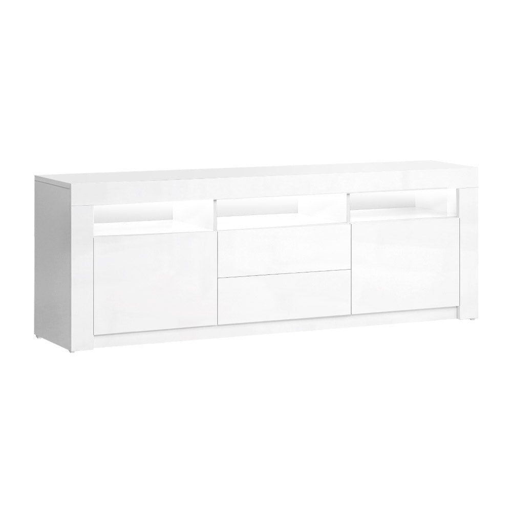 TV Cabinet Entertainment Unit Stand RGB LED High Gloss White