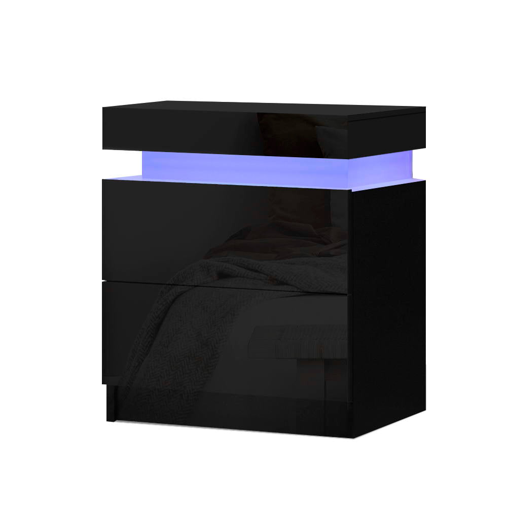 Bedside Tables Side Table Drawers RGB LED High Gloss Nightstand Black