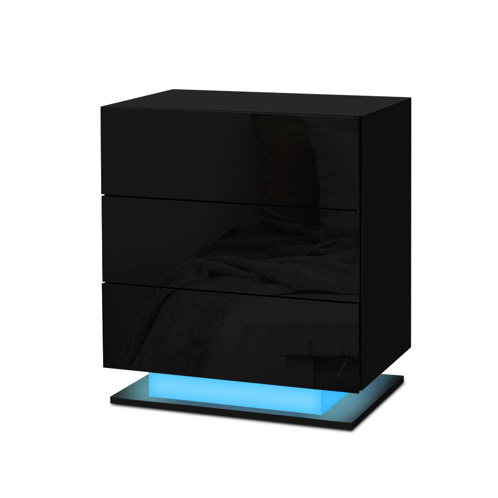 Bedside Tables Side Table RGB LED Lamp 3 Drawers Nightstand Gloss Black