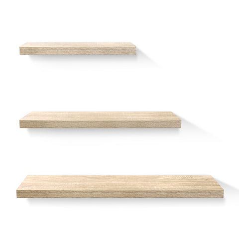 3pcs Wall Floating Shelf Set DIY Mount Storage Book Display Rack Oak