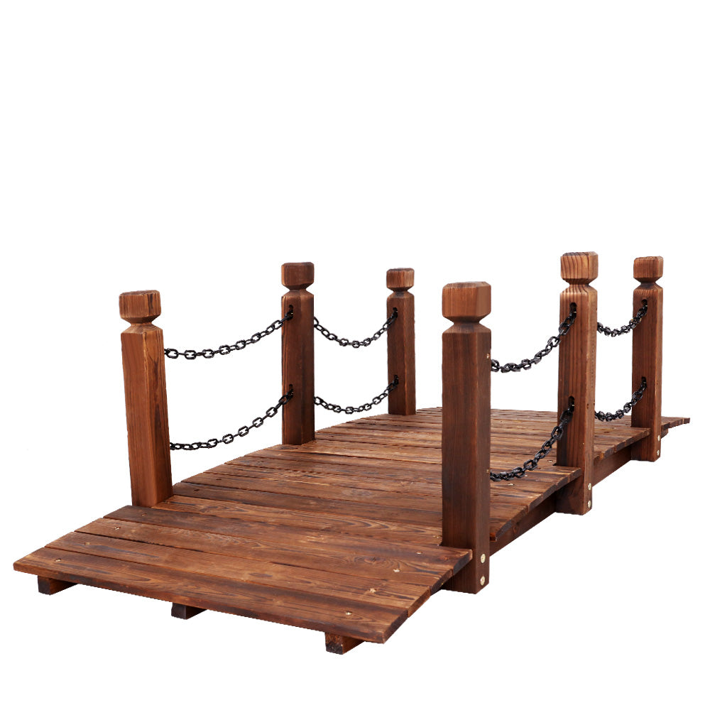 Rustic Chain Bridge Wooden Decoration Decor Landscape 160cm Length Rail