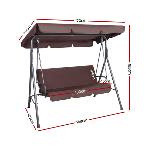 Outdoor Swing Chair Hammock 3 Seater Garden Canopy Bench Seat Backyard