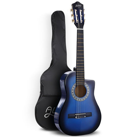 "34"" Inch Guitar Classical Acoustic Cutaway Wooden Ideal Kids Gift Children 1/2 Size Blue"