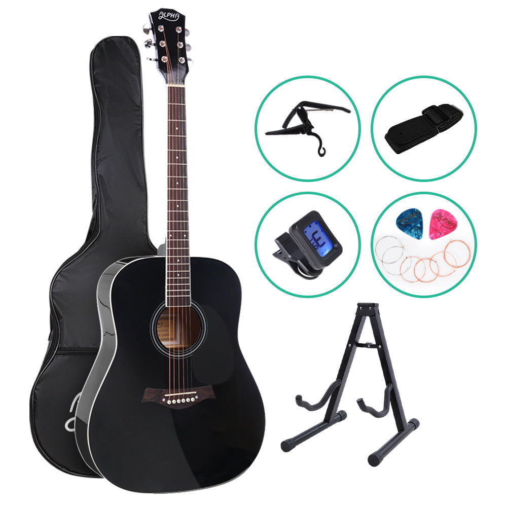 38 Inch Wooden Acoustic Guitar with Accessories set Black