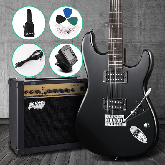 Alpha Electric Guitar And AMP Instrument Rock Black Carry Bag Steel String