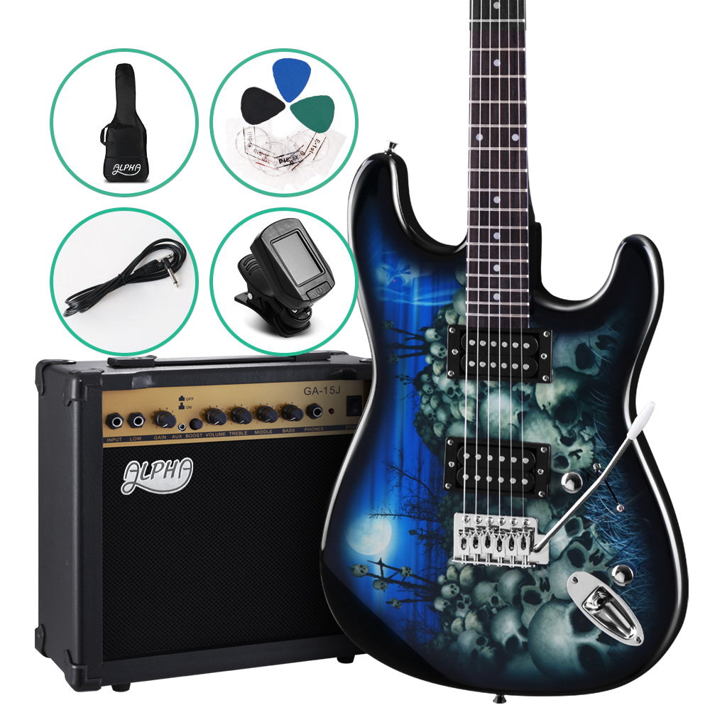 Alpha Electric Guitar And AMP Instrument Rock Blue Carry Bag Steel String