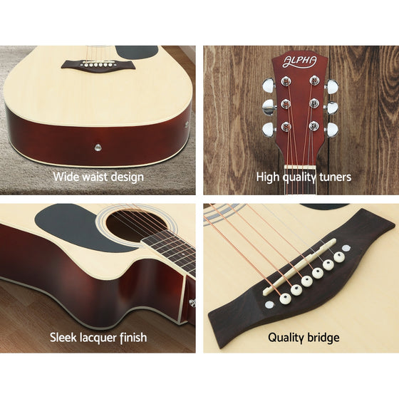 "41"" Inch Electric Acoustic Guitar Wooden with Pickup Capo Tuner Natural"