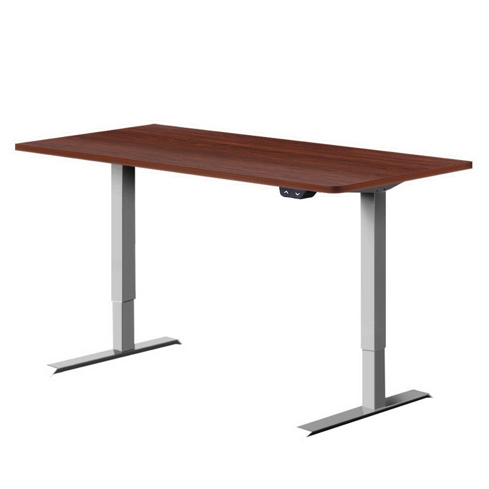 Standing Desk Sit Stand Table Motorised Electric Grey Frame Walnut