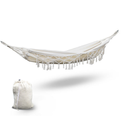 Hanging Tassel Hammock Swing Bed Cream