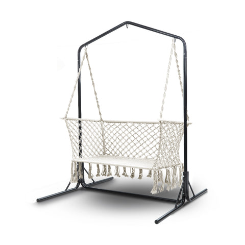 Double Swing Hammock Chair with Stand Macrame Outdoor Bench Seat Chairs