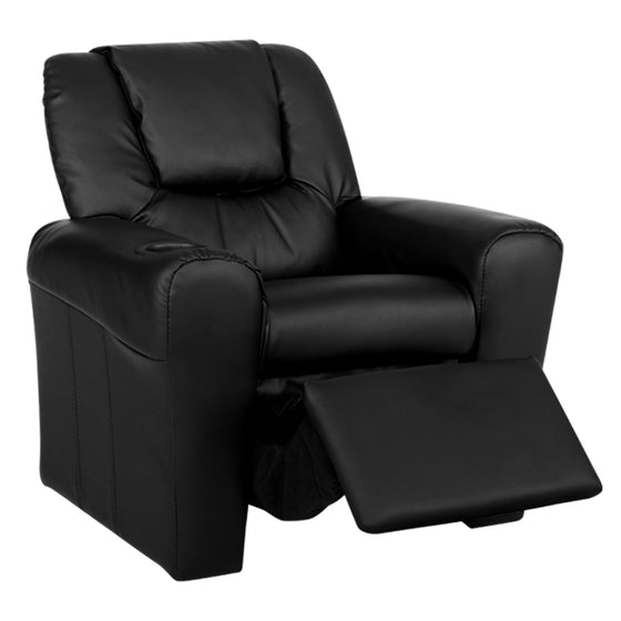 Kids Leather Recliner Chair - Black