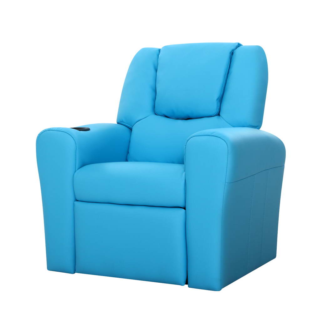 Kids Leather Recliner Chair - Blue