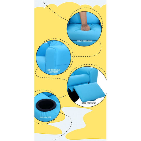 ... Kids Leather Recliner Chair   Blue ...