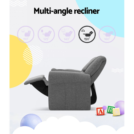 Kid's Linen Fabric Reclining Arm Chair - Grey