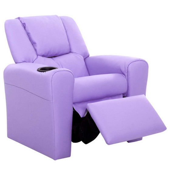 Kids Leather Recliner Chair - Purple