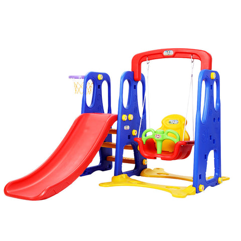 Kids 3-in-1 Slide Swing with Basketball Hoop Toddler Outdoor Indoor Play