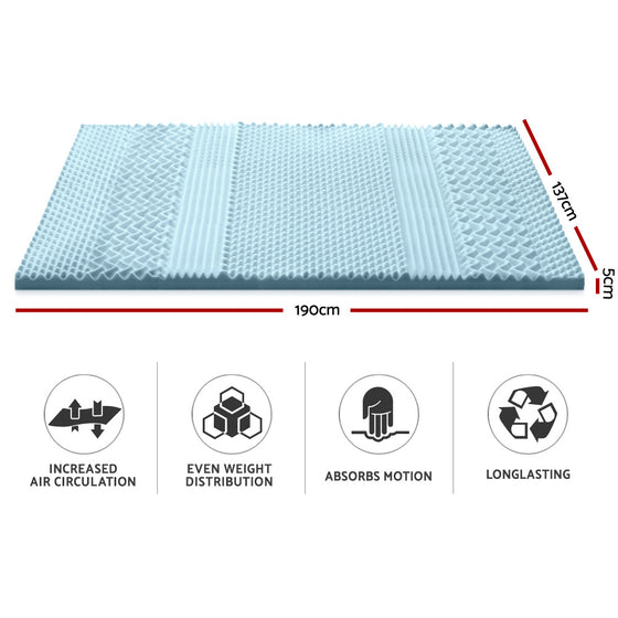 Cool Gel Memory Foam Mattress Topper Bamboo Cover 5CM 7-Zone Double