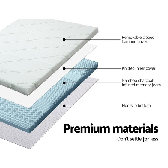 Cool Gel Memory Foam Mattress Topper Bamboo Cover 8CM 7-Zone Double