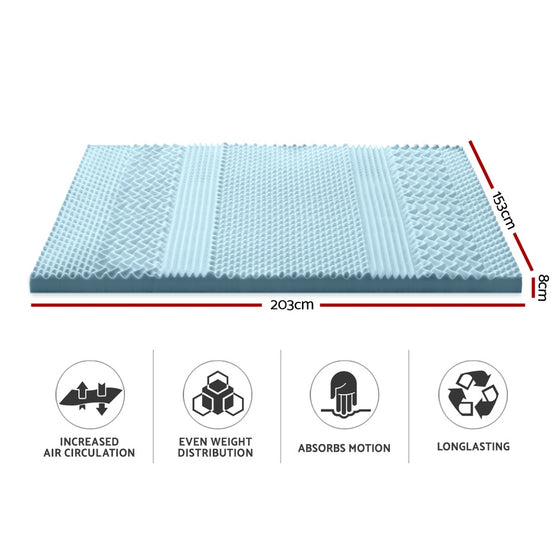 Cool Gel Memory Foam Mattress Topper Bamboo Cover 8CM 7-Zone Queen