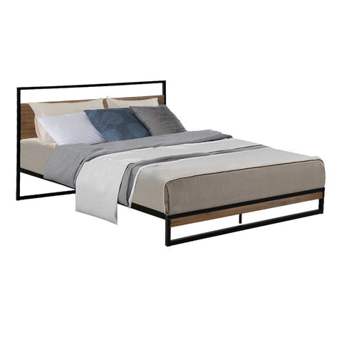 Metal Bed Frame Double Size Base Platform Black