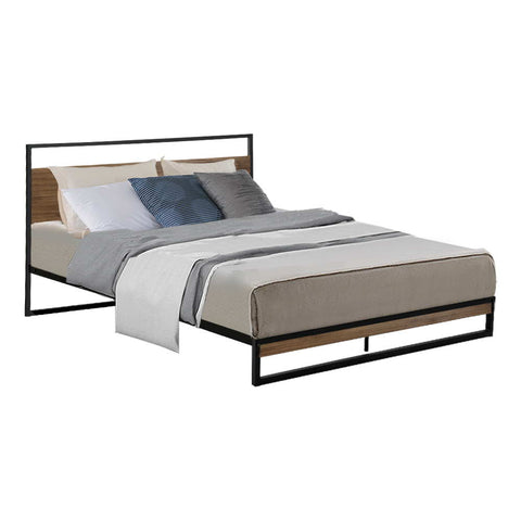 Metal Bed Frame Queen Size Base Platform Black Dane