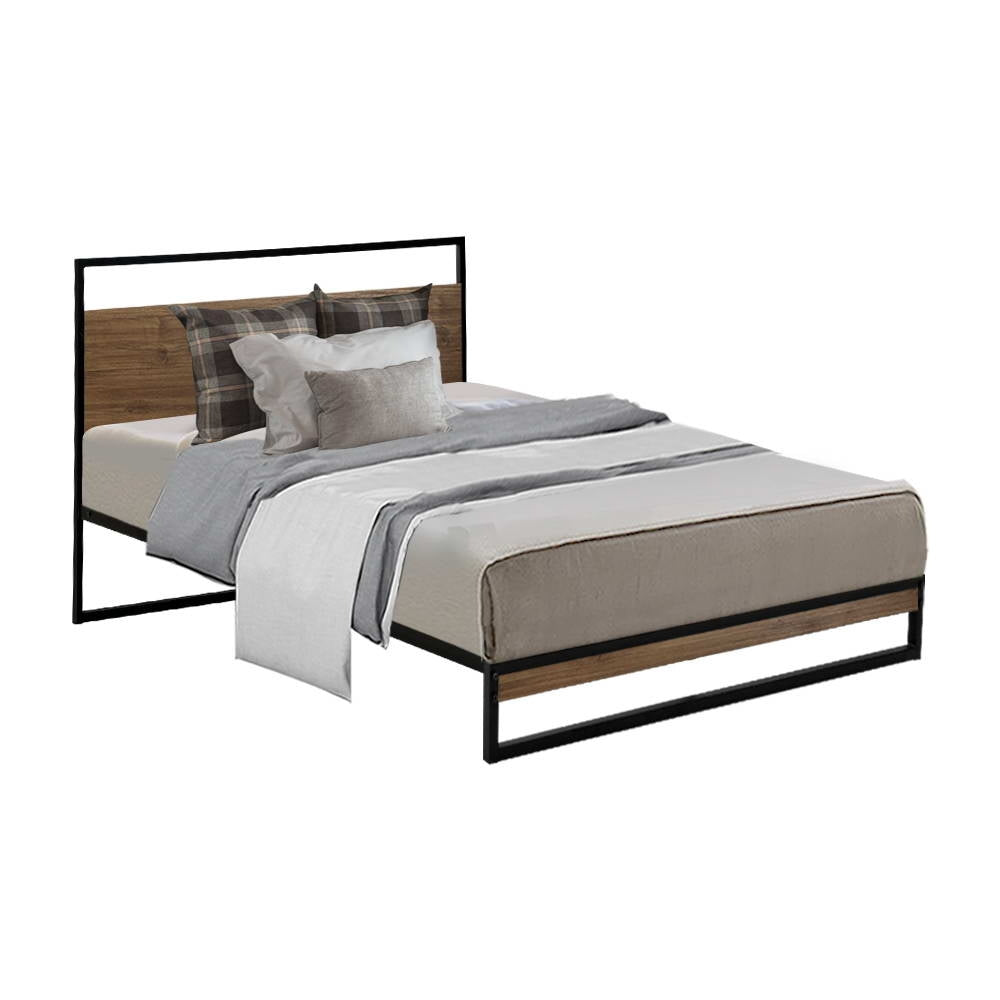 Metal Bed Frame Single Size Base Platform Black Dane