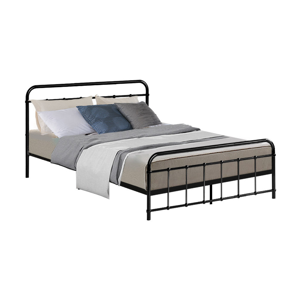 Metal Bed Frame Double Size Platform Foundation Black