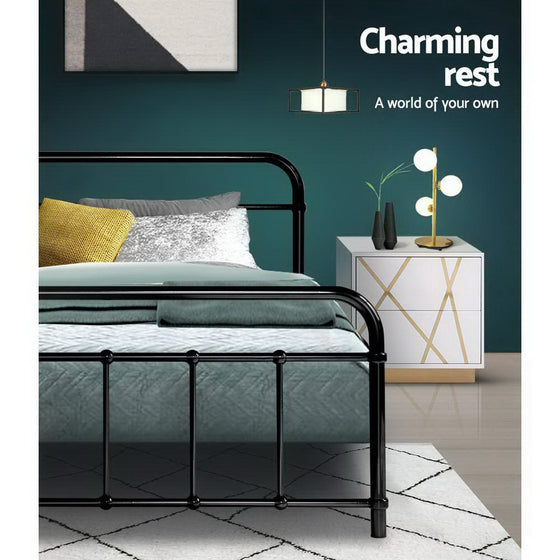 Bed Frame Queen Size Platform Foundation Base Black