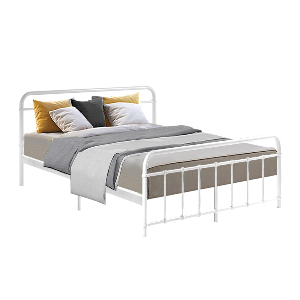 Bed Frame Queen Size Platform Foundation Base White