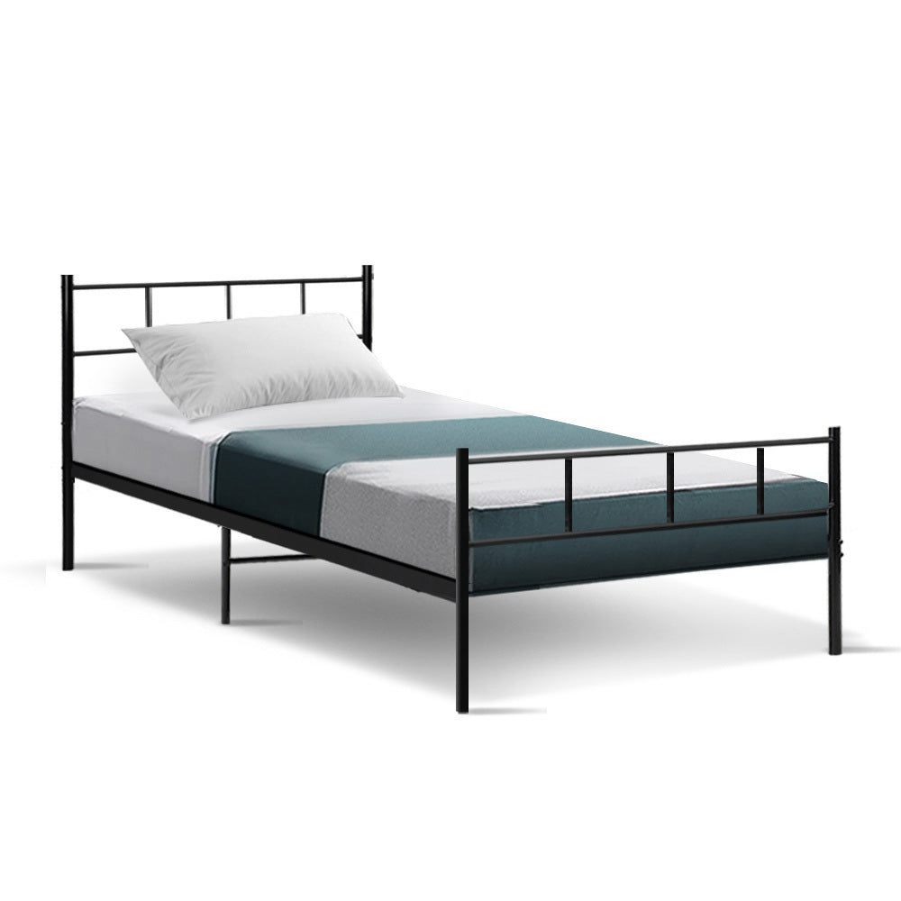 Metal Bed Frame Single Size Platform - Black