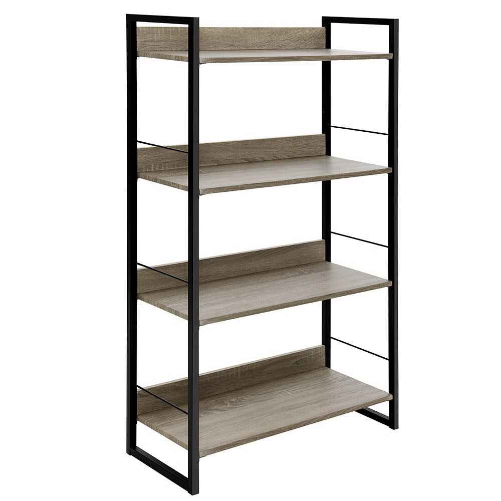 Book Shelf Display Shelves Corner Wall Wood Metal Stand Hollow Storage