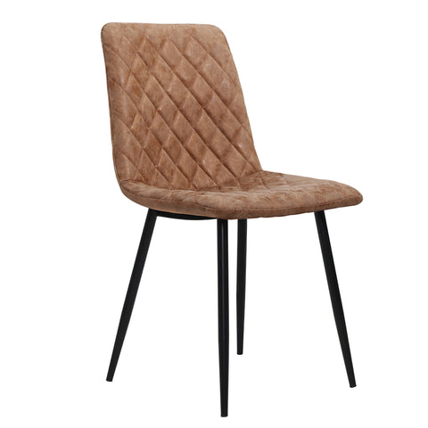Dining Chairs Replica PU Leather Padded Retro Iron Legs x2