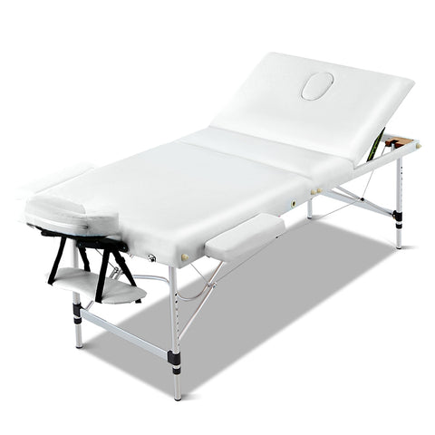 70cm Wide Portable Aluminium Massage Table 3 Fold Treatment Beauty Therapy White