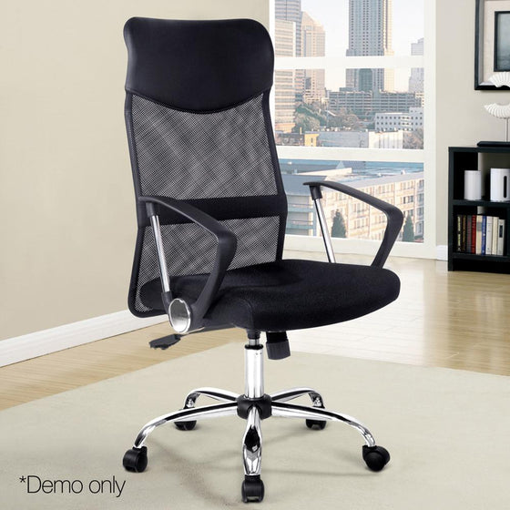 PU Leather Mesh High Back Office Chair Black