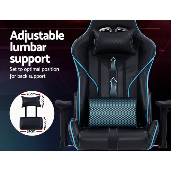 Gaming Office Chair Computer Chairs Leather Seat Racingc Recliner Chair Black Blue