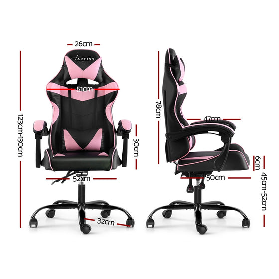 Office Chair Gaming Chair Computer Chairs Recliner PU Leather Seat Armrest Black Pink