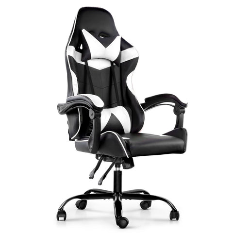 Gaming Office Chairs Computer Seating Racing Recliner Racer Black White