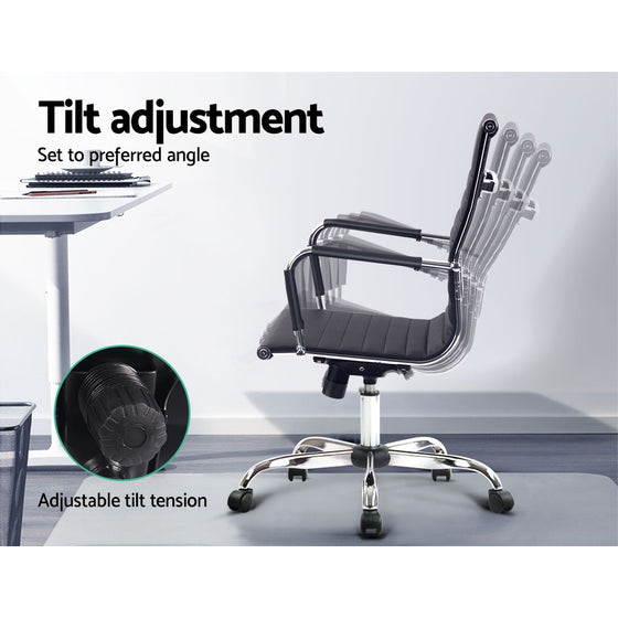 Replica Office Chair Executive Mid Back Seating PU Leather Black