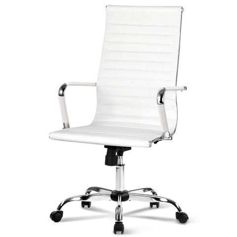 Eames Replica Office Chairs PU Leather Executive Work Computer Seat White