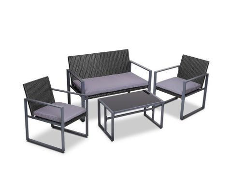 4PC Outdoor Furniture Patio Table Chair Black